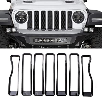 7x Gloss Front Grille Mesh Insert Cover Trim Set for 2018 Jeep Wrangler JL Black