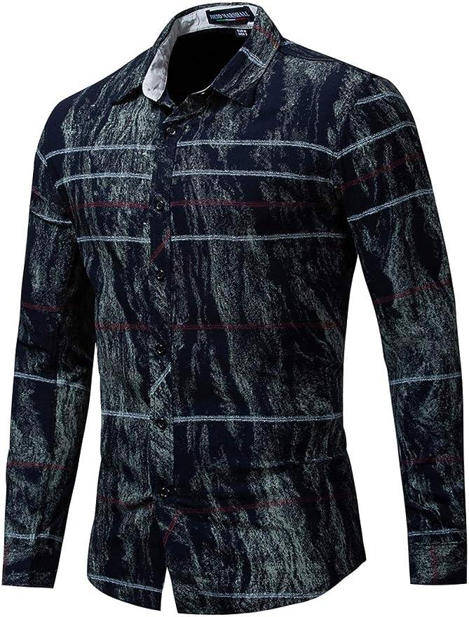 Camisa De Trabajo Rayas Manga Larga De Algodón Casual para Hombre: Amazon.es: Ropa y accesorios