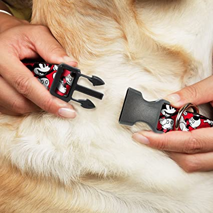 Amazon.com : Buckle Down Plastic Clip Collar - Mickey Mouse Poses Scattered Red/Black/White - 1