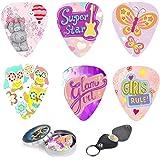 Kids Guitar Picks For Girls Pink Butterfly Cool 12 Medium Celluloid Picks W/FREE BONUS Sleek Tin Box & Pick Holder. Best…