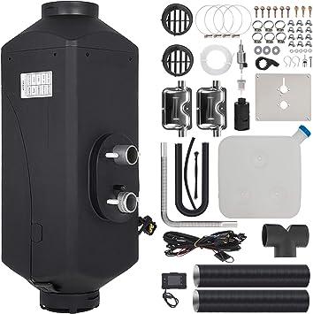 Kit Completo Diesel Air Heater per Camion Autobus Barca 5KW 24V Riscaldamento da Parcheggio con Interruttore LCD Termostato Serbatoio Silenziatore e Telecomando VEVOR Riscaldatore ad Aria Diesel