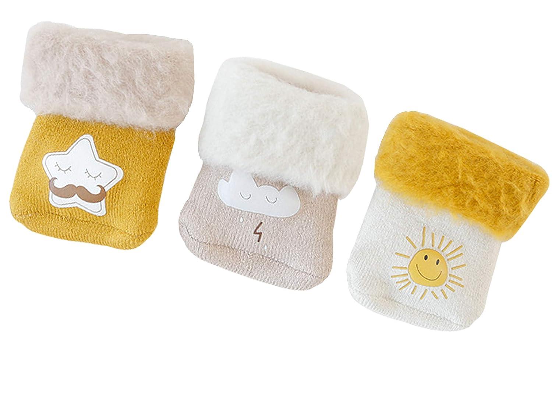 RUXIYI Baby Winter Socken Niedlichem Cartoon Motiv 0-36 Monate Neugeborene Kleinkind Jungen Mä dchen Baumwolle Sö ckchen Dicke socken 3er Pack