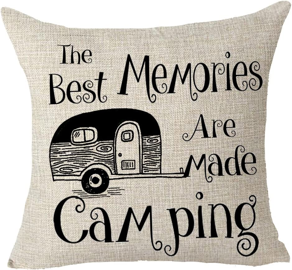 FELENIW The Best Memories are Made Camping Throw Pillow Cover Cushion Case Cotton Linen Material Decorative 18