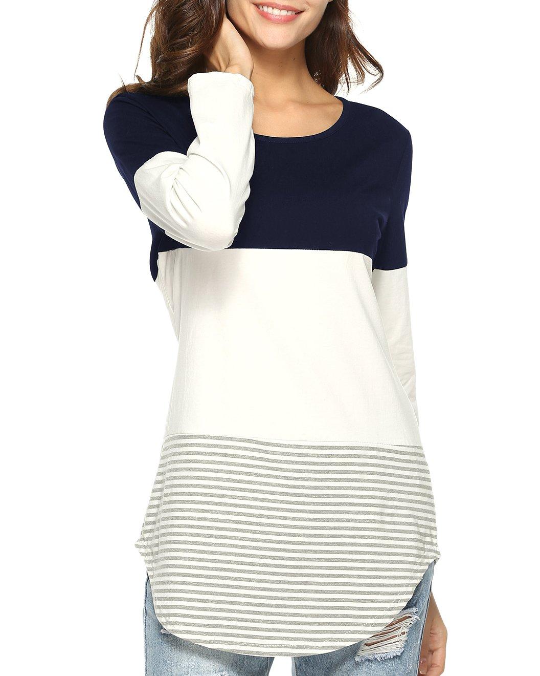Doris Kids Women's Casual Long Sleeve Tunic Top Sweatshirt Color Block T-Shirt Blue XL