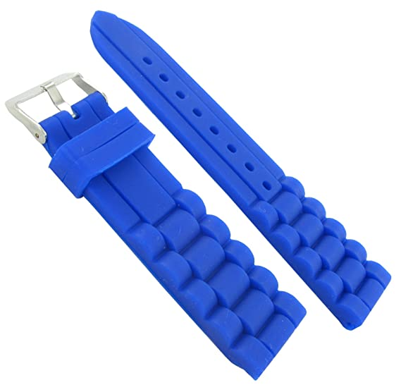 Amazon.com  22mm Trendy Royal Blue Rubber Silicone Waterproof Watch ... f30747237701