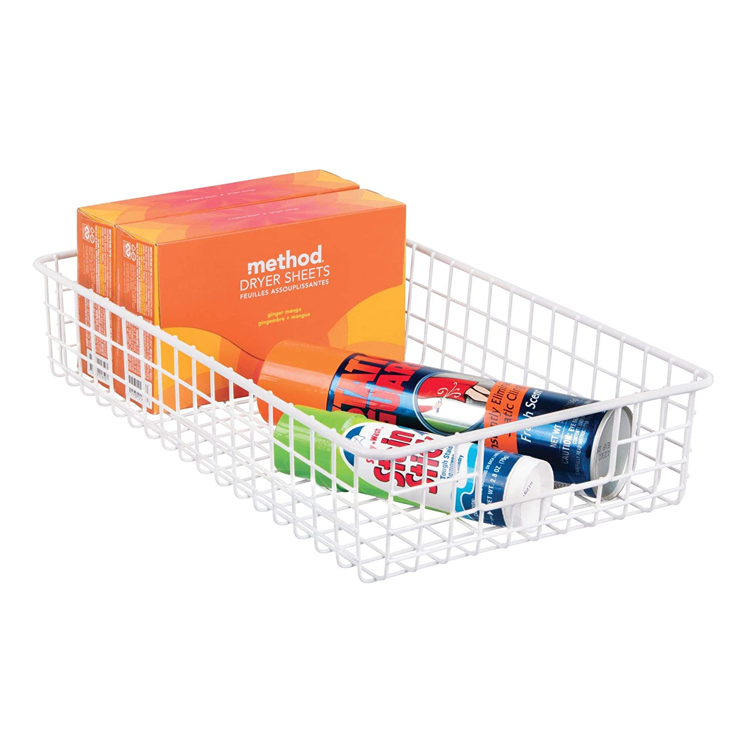 Pantry InterDesign Classico Wire Storage Basket with Handles for Organizing Kitchen Cabinets White 90242