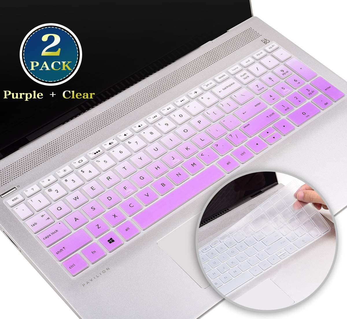 HP Envy 15.6 Keyboard Cover for HP Envy 17t 15t Series, HP Pavilion 15.6/HP Pavilion x360 15.6 Inch Series 2020 2019 2018, HP Spectre x360 15-ch Silicone Keyboard Skin(Gradual Purple+Clear)