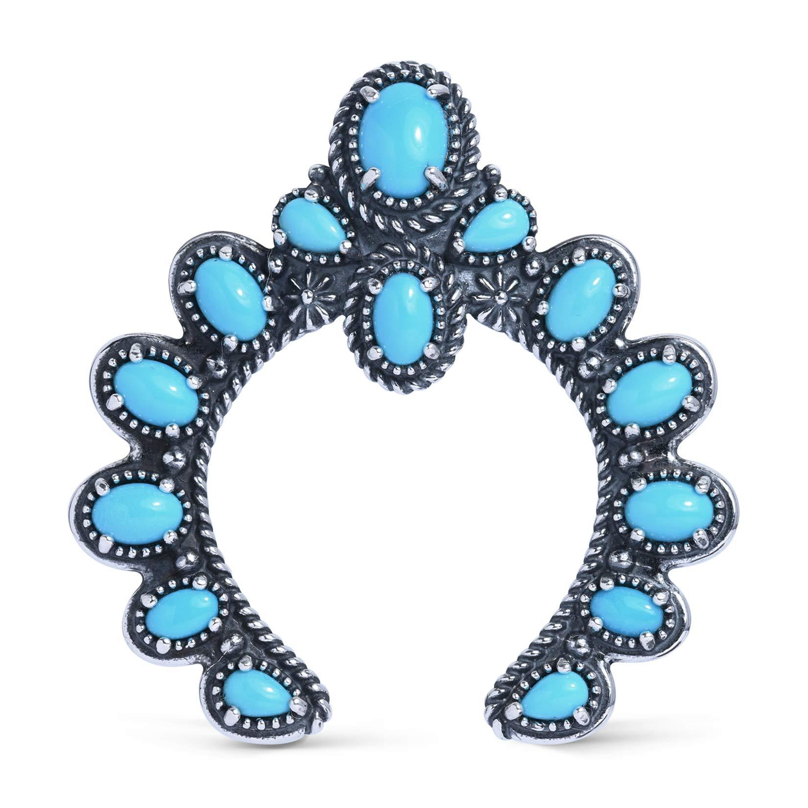 American West Sterling Silver Sleeping Beauty Turquoise Naja Pendant Enhancer