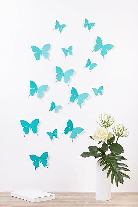 63 opinioni per Bilderdepot24, Set di farfalle decorative effetto 3D con adesivo, 15 pz.,