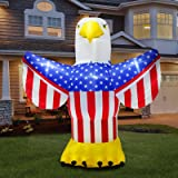B.N.X Inflatable 6 Ft American Eagle Light Up Decoration for July 4th Independent Day