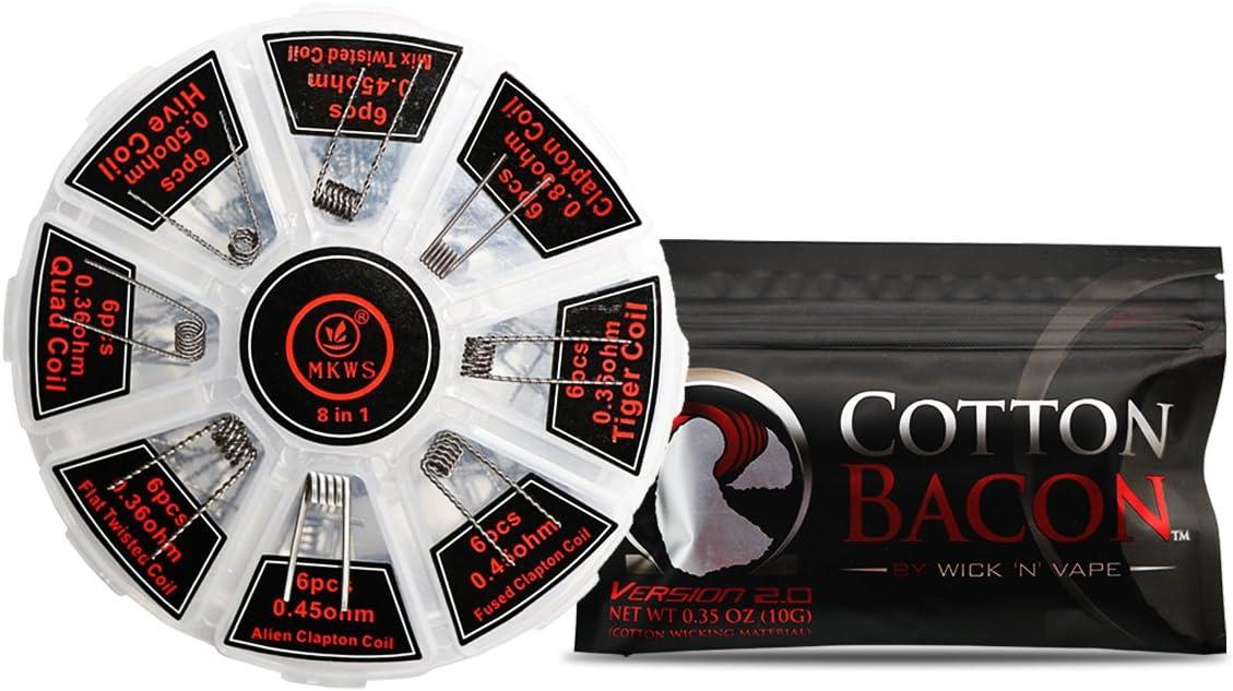Wick N Vape Cotton Bacon, Kanthal A1, Colección de cables prefabricados 8 en 1, Perfecto para RDA, RBA, RDTA, E Cigarrillo DIY Bobinas 48 UNIDS: Amazon.es: Salud y cuidado personal