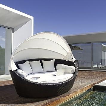 Lujo Jardín Muebles de ratán mimbre al aire libre cama sofá tumbona ...