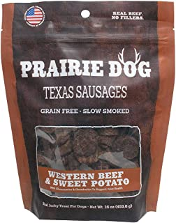 product image for Prairie Dog Pet Products Western Beef & Sweet Potato, Texas Sausages 16Oz