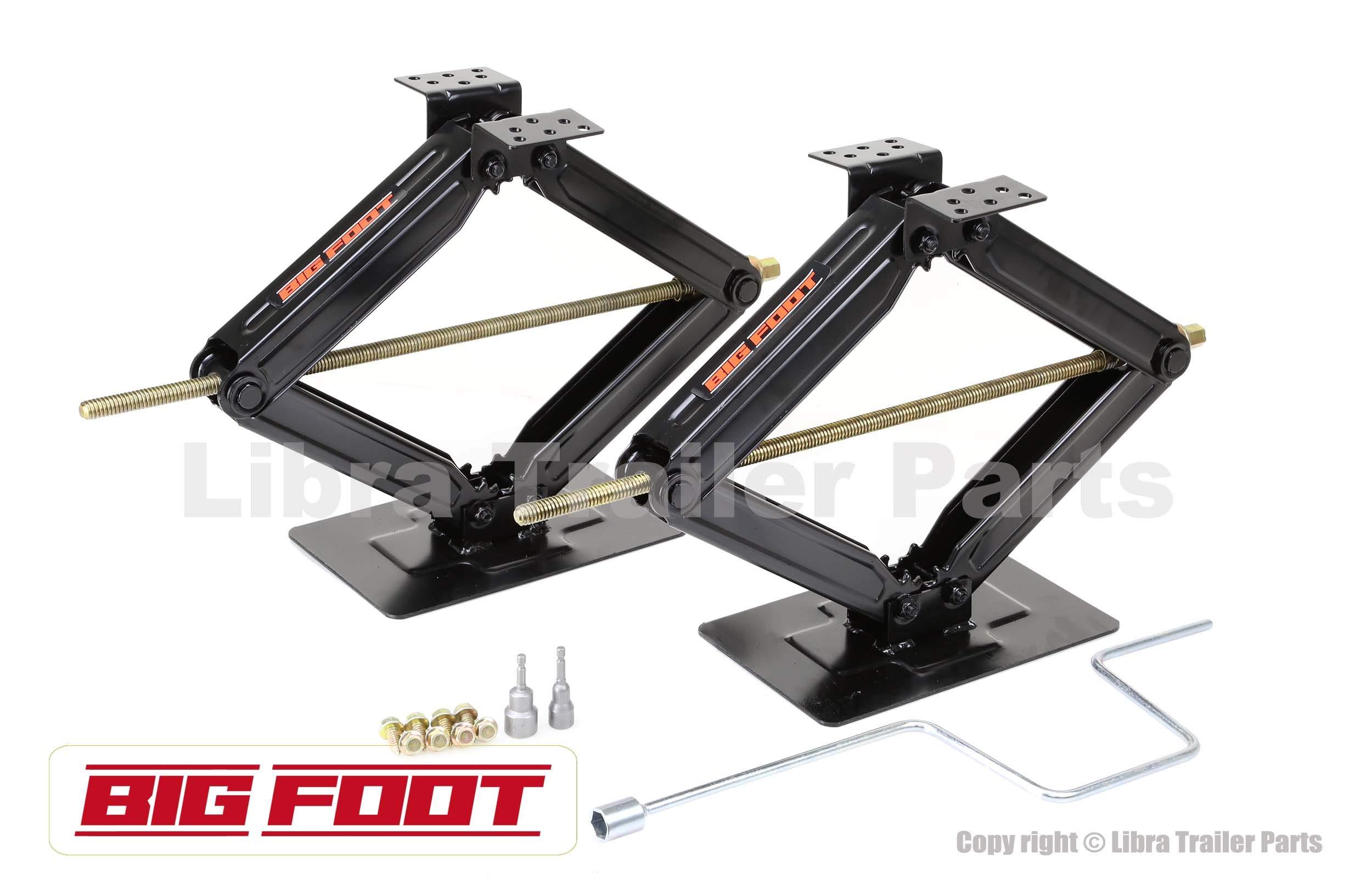 LIBRA Set of 2 Bigfoot 5000 lb 24'' RV Trailer Stabilizer Leveling Scissor Jacks w/Handle & Dual Power Drill Sockets & Hardware -Part#26044 by LIBRA