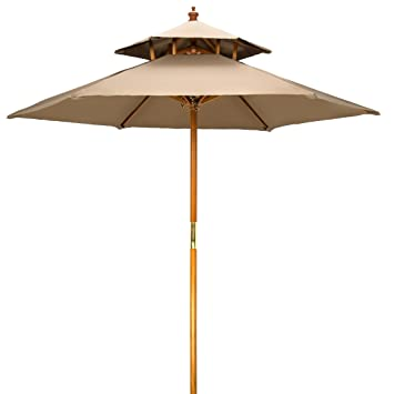 Etonnant 7u0027 Wood 2 Tier Pagoda Style Patio Umbrella By Trademark Innovations ...