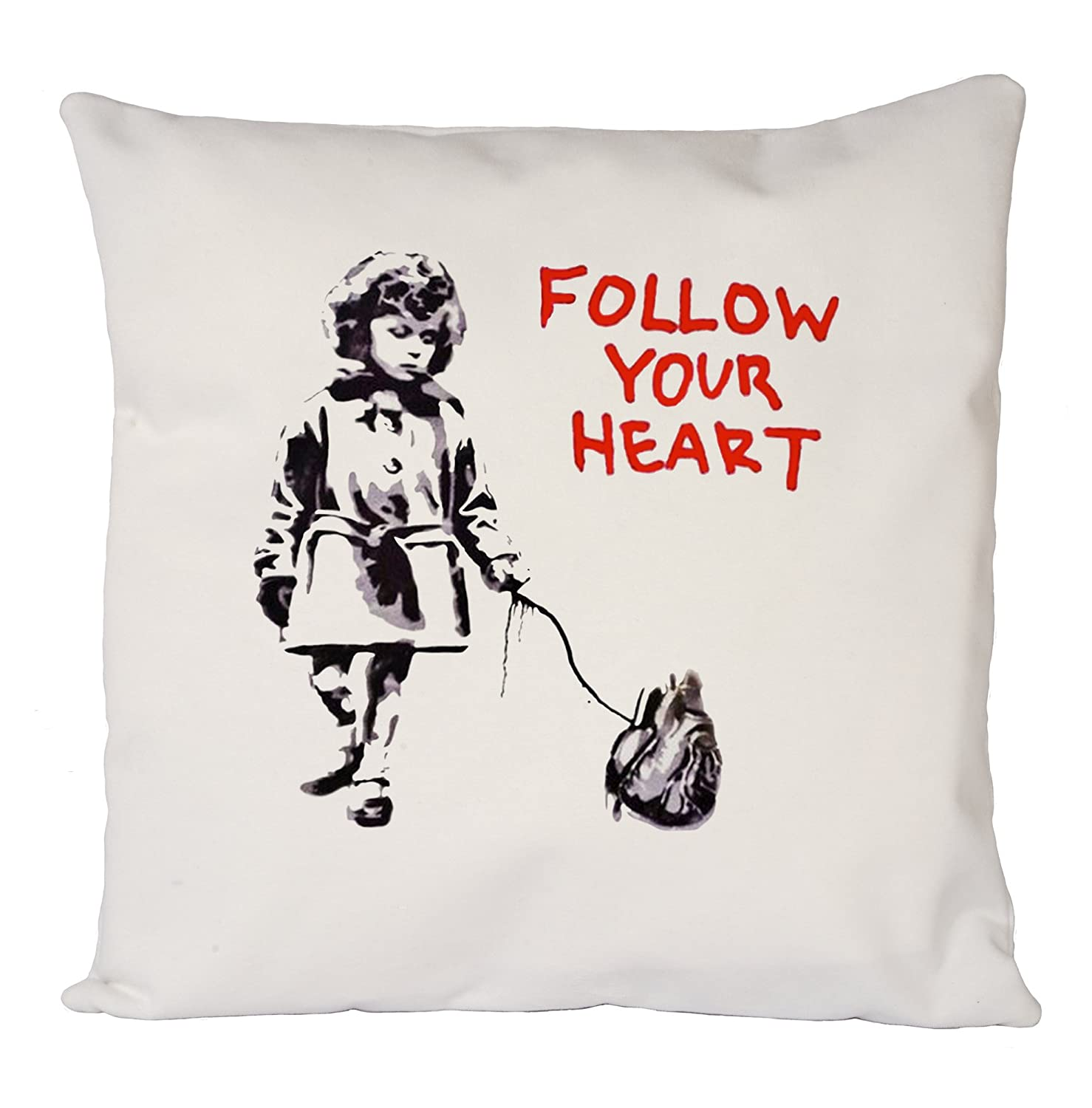 Banksy Follow Your Heart, Pillow Case, Cushion Cover, Home Sofa Décor Uk print king