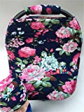 Rosy Kids Stretchy Infant Car Seat Canopy Cover, Jersey Car Seat Cover Elastic Nursing Scarf Privacy Cover with Matching Car Seat Handle Cover and Baby Hat, Color23DR17