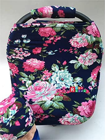 Rosy Kids Stretchy Infant Car Seat Canopy Cover Jersey Car Seat Cover Elastic Nursing Scarf & Amazon.com: Rosy Kids Stretchy Infant Car Seat Canopy Cover ...