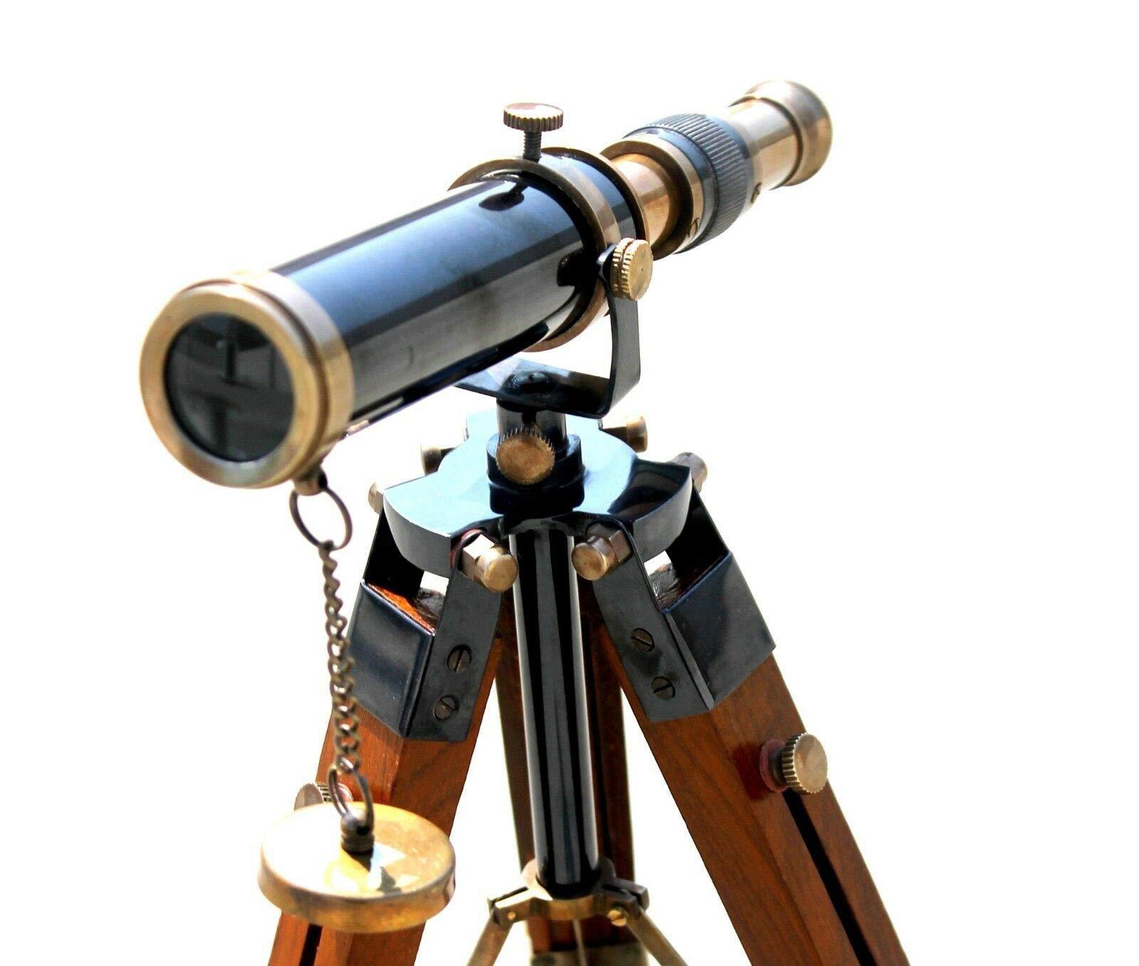 PIRU Brass Antique Telescope W/Wooden Adjustable Tripod Working Astrolabe Item.