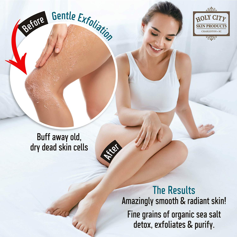 Exfoliating Body Scrub - Pure Dead Sea Salt Scrub for Hands and Body, 16 fl oz Hydrating Moisturizing Skin Care for Body Acne, Eczema, Wrinkles (Almond and Honey) : Beauty