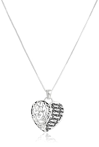 Sterling Silver with Gold Flashed Love Mother and Son Forever Heart Pendant Necklace