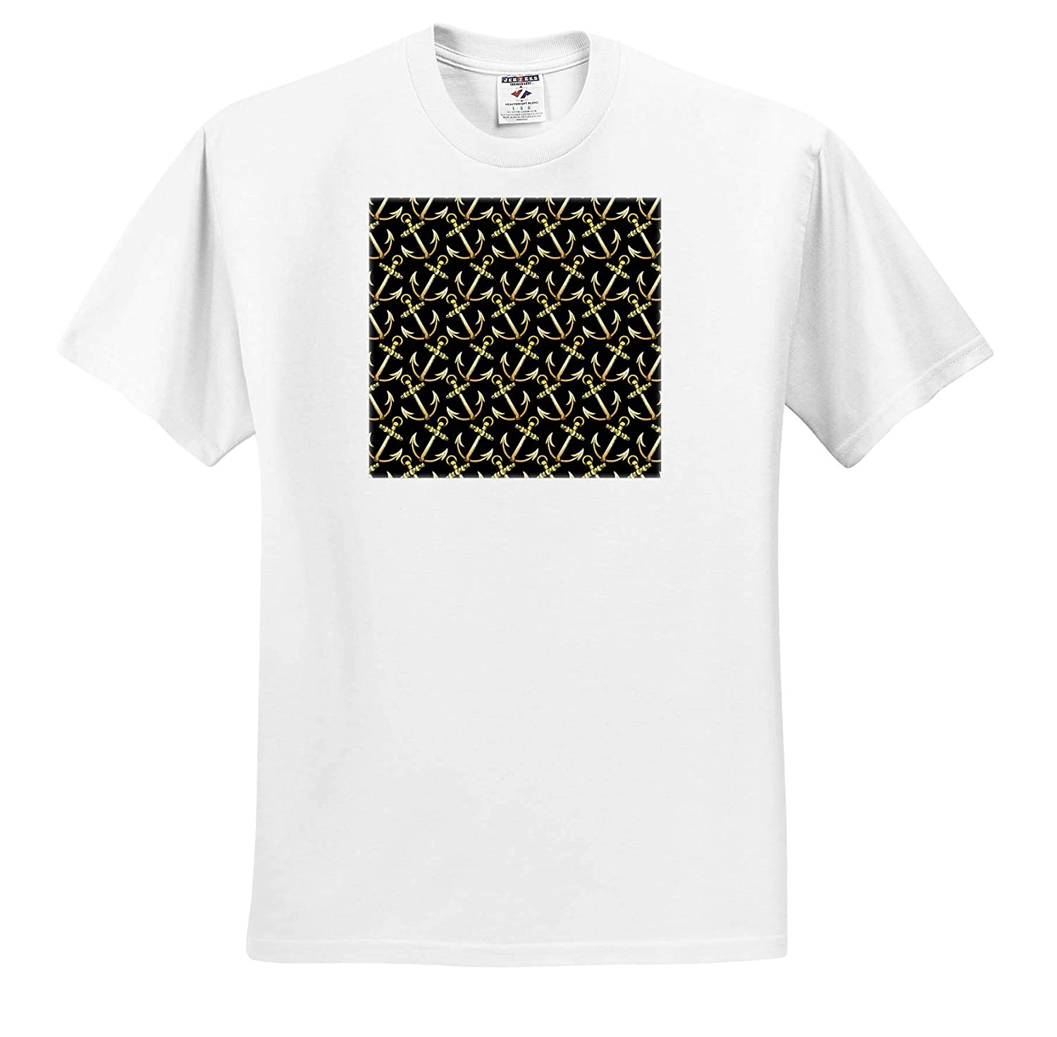 3dRose Russ Billington Nautical Designs Jaunty Faux Gold Effect Ships Anchor Pattern not foil Embossed T-Shirts