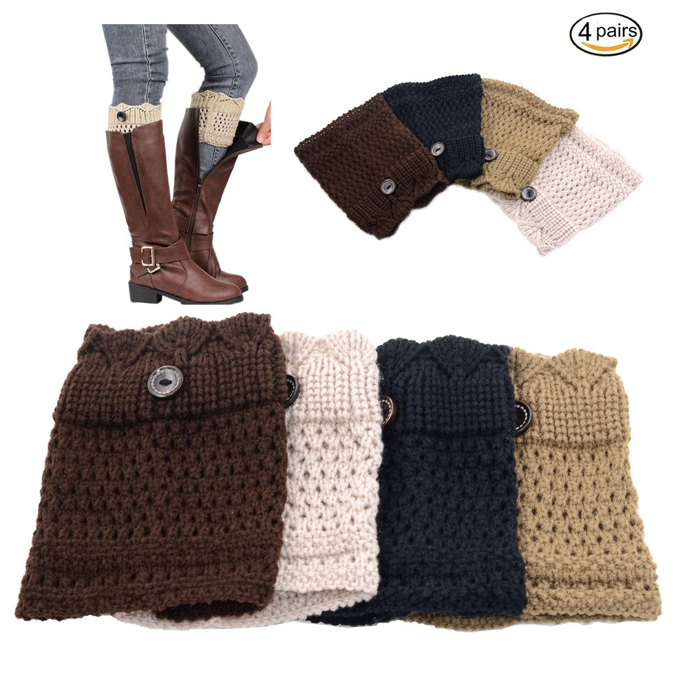 Womens Short Crochet Leg Warmer Knit Boot Socks Topper Cuff