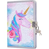 MHJY Sequin Unicorn Journal Secret Diary with Lock,Reversible Mermaid Sequin Notebook Private Journal Magic Unicorn Notebook Gifts for Girls