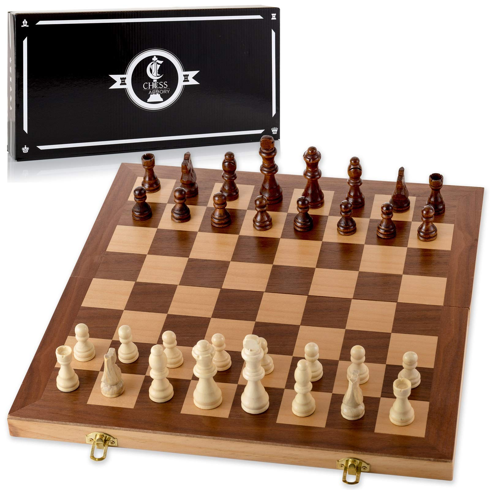 Chess Armory 15'' Wooden Chess Set with Felted Game Board Interior for Storage by Chess Armory
