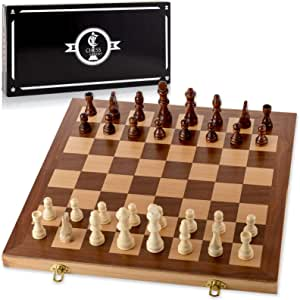 """Chess Armory 15"""" Wooden Chess Set with Felted Game Board Interior for Storage"""