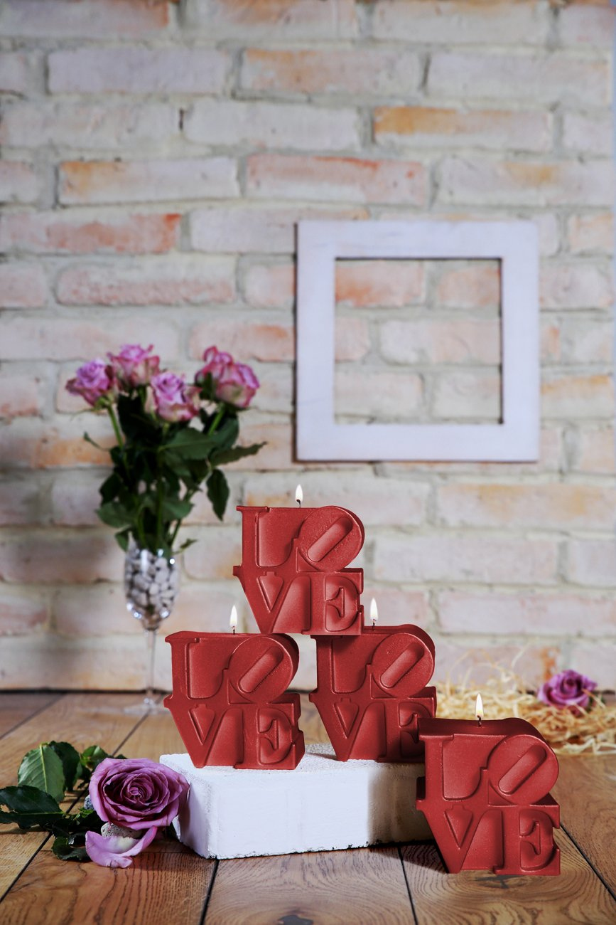 Candellana Candles 5903104800994 Love Sign Candles (Set of 4) Red 4 Piece