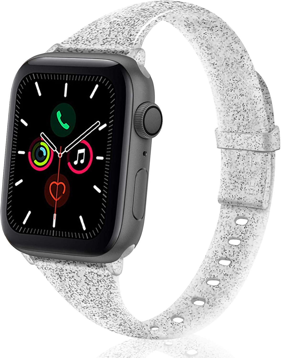 TSAAGAN Glitter Slim Silicone Band Compatible with Apple Watch 38mm 42mm 40mm 44mm, Sparkly Bling Thin Replacement Wristband Accessory for iWatch Series 5/4/3/2/1 (Glitter Black, 42mm/44mm)