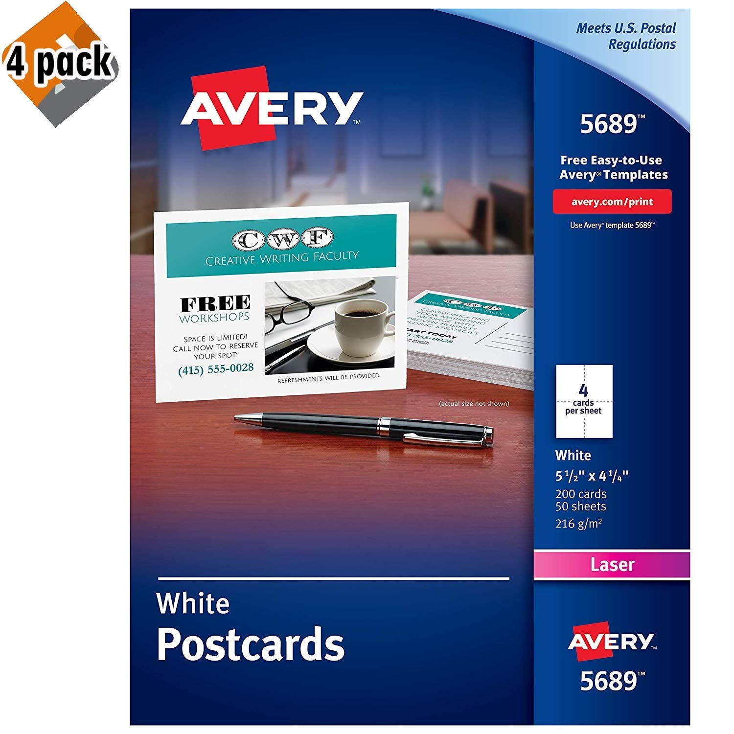 Avery Printable Cards, Laser Printers, 200 Cards, 4.25 x 5.5, U.S. Post Card Size (5689) - 4 Pack by AVERY