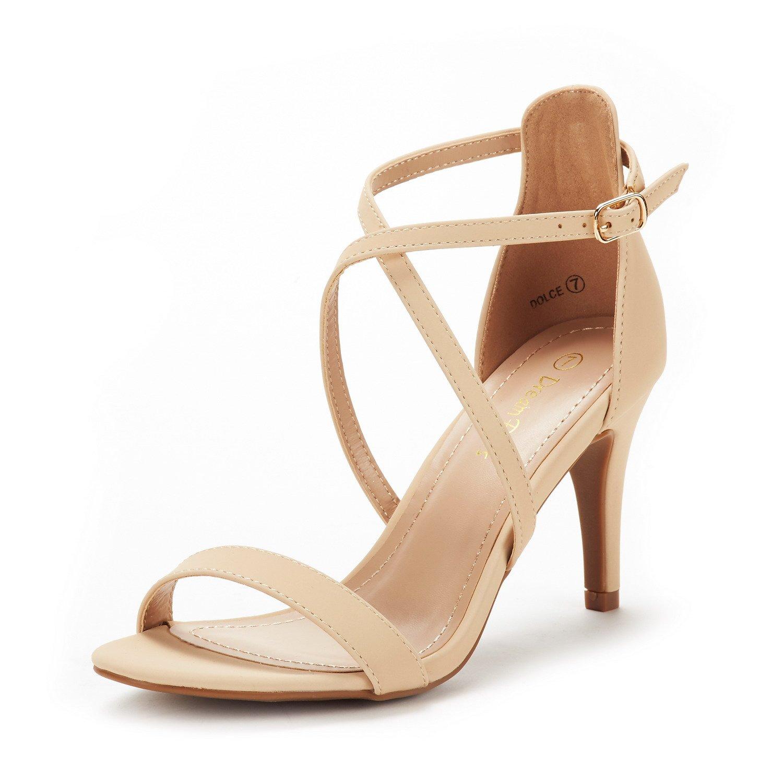 DREAM PAIRS Women's Dolce Nude Nubuck Fashion Stilettos Open Toe Pump Heel Sandals Size 8 B(M) US by DREAM PAIRS