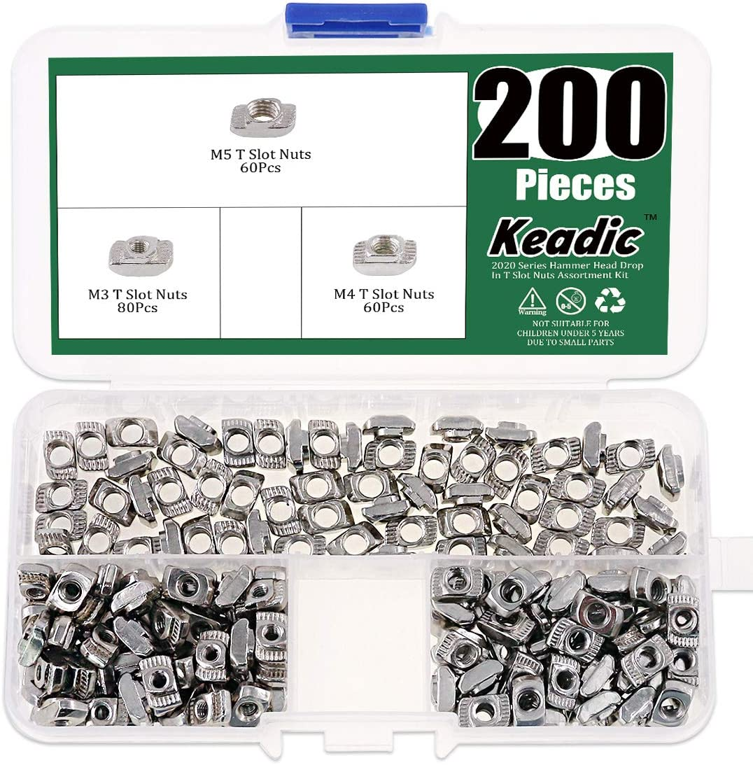 Keadic 200Pcs 2020 Series T Nuts, M3 M4 M5 Hammer Head Fastener Drop in T Slot Nut Assortment Kit with Organizing Box for Aluminum Profile - Carbon Steel Nickel Plated
