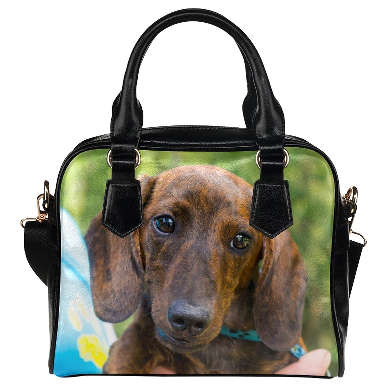 CASECOCO Yellow Dachshund Puppy Dog Women's PU Leather Purse Handbags Shoulder Bag