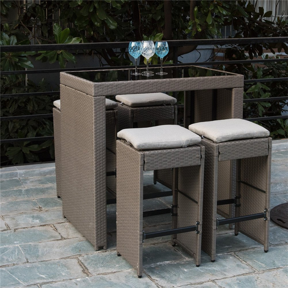 PatioPost Outdoor 5 Pcs Grey Wicker Bar Set: Glass Bar and Four Stools with Cushions - Perfect for Patios, Backyards, Porches, Gardens or Poolside by PatioPost