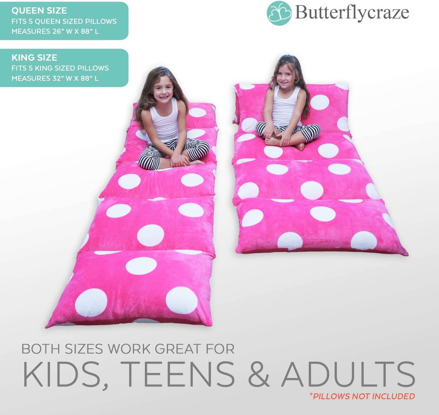 Great for SLEEPOVERS Slumber Parties Perfect Reading and Watching TV Cushion Luxurious Premium Plush Fabric Butterfly Craze Girls Floor Lounger Seats Cover and Pillow Cover Made of Super Soft