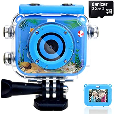 denicer Waterproof Kids Camera with 2.0 Inch HD Display 12MP Photo Resolution & 1080P Video Resolution with 32G SD Card Underwater Children's Camera for 4-12 Boy Birthday Be: Camera & Photo