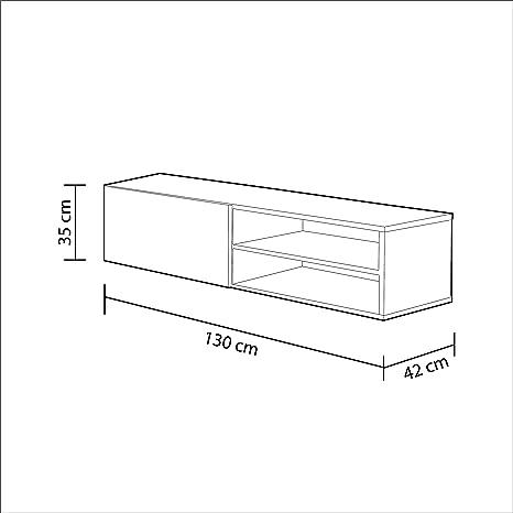 Habitdesign 006670G - Modulo de Comedor, Mueble TV Modelo Kikua, modulo Acabado en Gris Ceniza, Medidas: 35 x 130 x 42 cm