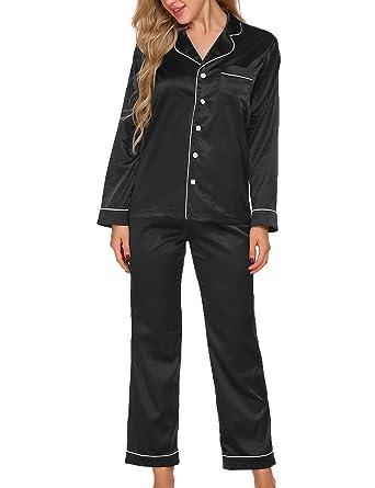 a15c83a7c Ekouaer Womens Satin Sleepwear Long Button-Down Pajama Set with Long Pants  (Black