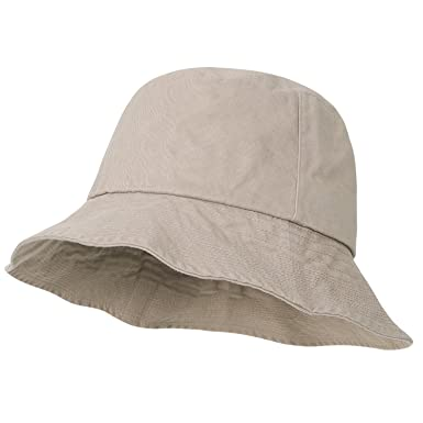 32fe0ea073c75 ililily Vintage Washed Cotton Basic Boonie Hat Casual Stitched Bucket Hat