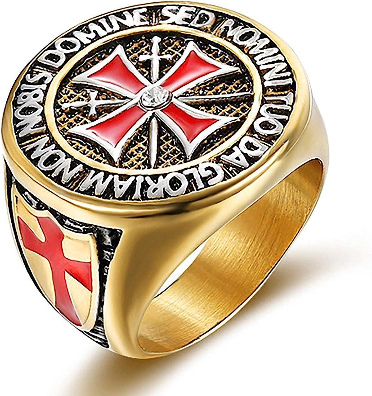 RANDELL Acero Inoxidable de los Hombres chapados en Oro Caballeros Templarios Cruz Sello Anillo para Memorial