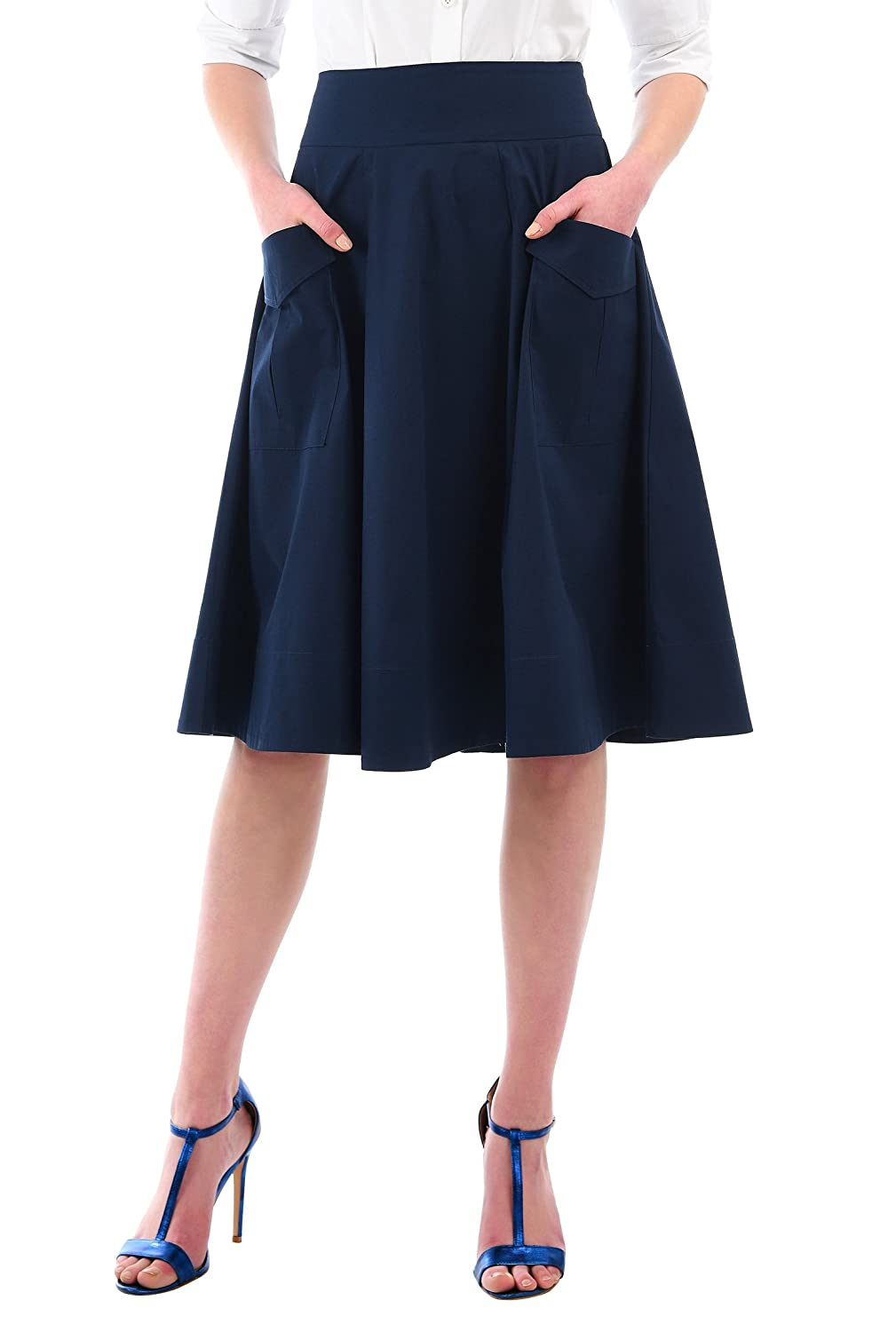 1950s Swing Skirt, Poodle Skirt, Pencil Skirts eShakti Womens Cargo Pocket Cotton Poplin Skirt $39.95 AT vintagedancer.com