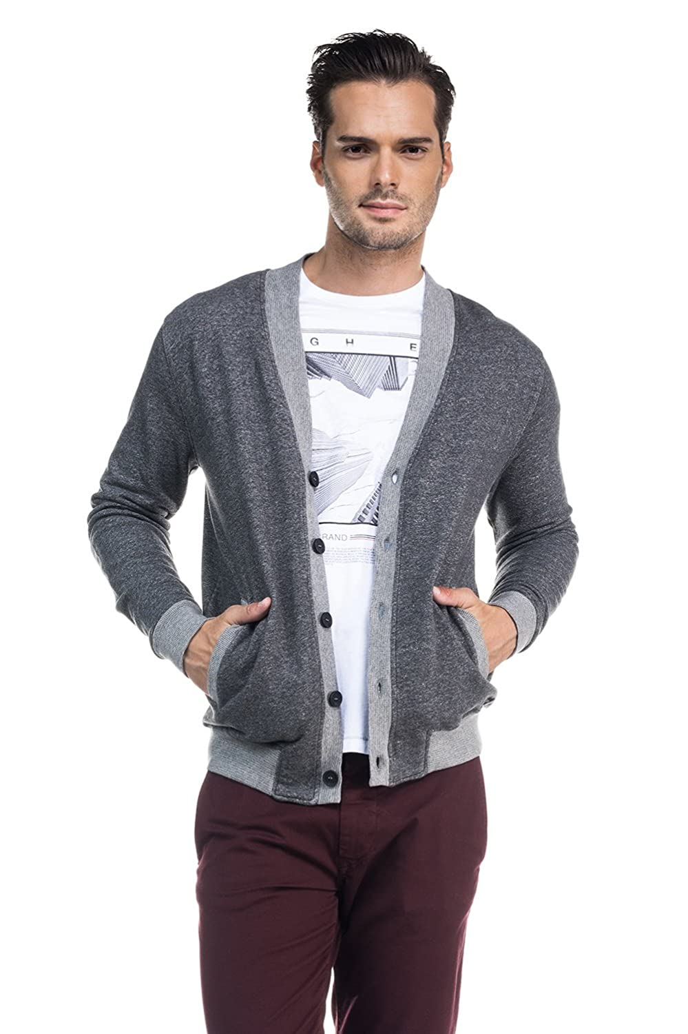 SALSA Thin cardigan with v-neck collar