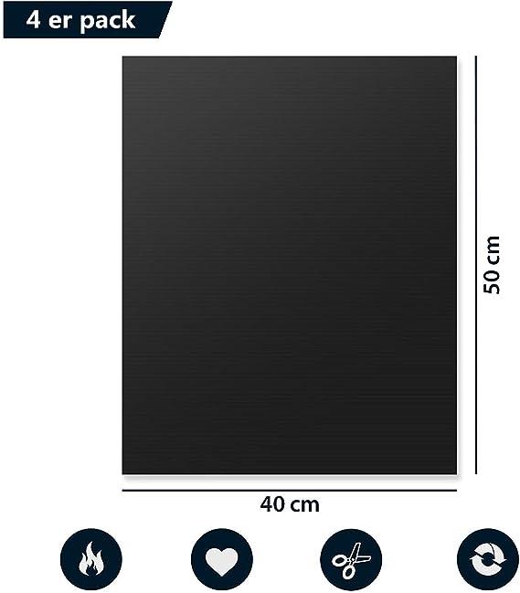 Set de 6 Estera de Barbacoa Barbacoa Mat Reutilizable Estera Antiadherente con Acabado de Tefl/ón para 260/°C//500℉ AIXMEET BBQ Mat 50 x 40 cm