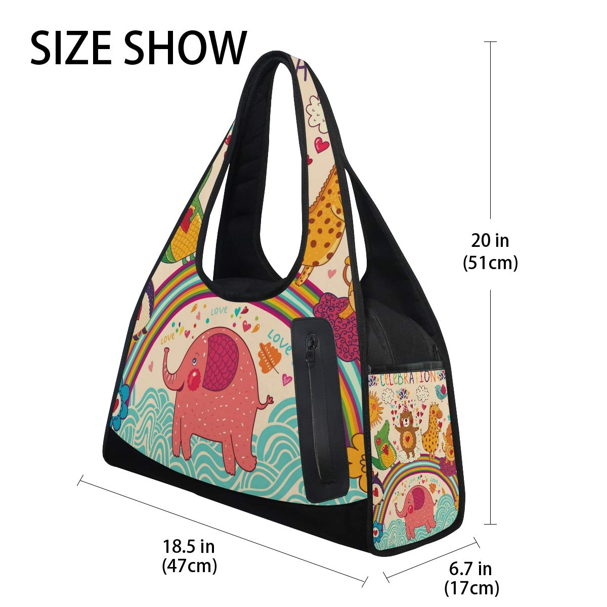 Gym Bag Sports Holdall Animals Elephant Dinosaur Rainbow Canvas Shoulder Bag Overnight Travel Bag for Men and Women