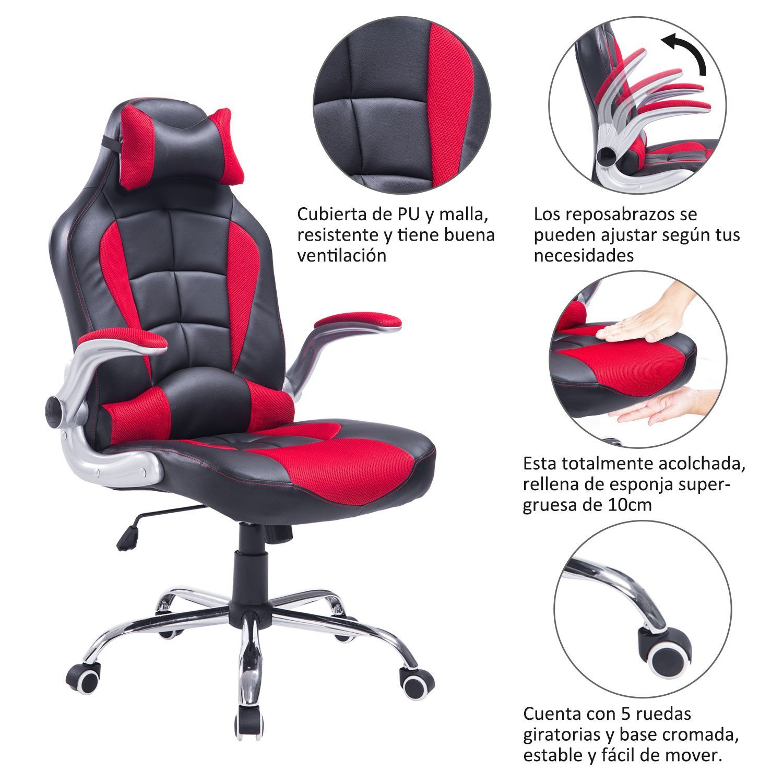 HOMCOM Silla Gaming de Oficina Ejecutiva Reclinable Tipo Sillón Giratorio de Escritorio Silla para Gamer con 2 Almohadas 67x69x118-127cm (Rojo): Amazon.es: ...