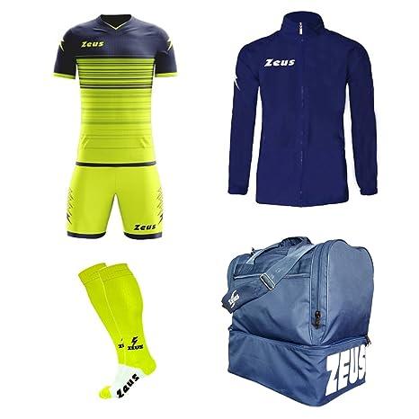 33fa01e82fd9 Zeus Kit Calcio ELIOS Calza + Borsone E K-Way Calcetto Allenamento  Completino Borsa Impermeabile