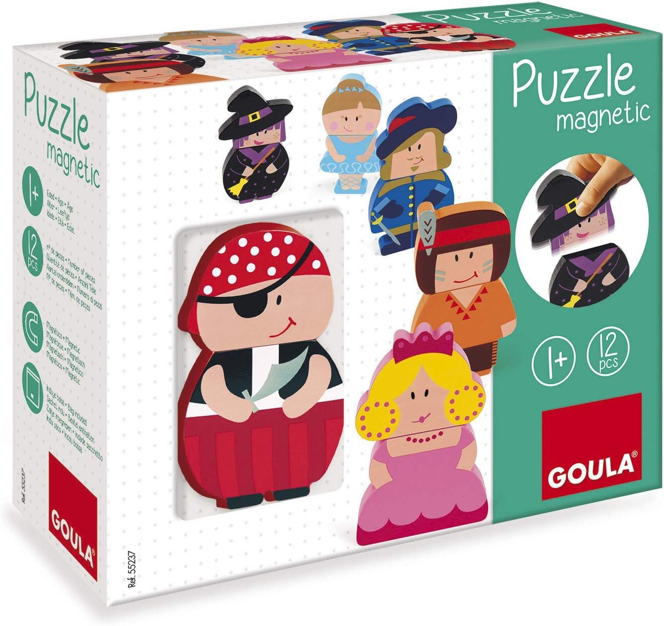 Goula - Puzzle personajes magnéticos - Puzzle de madera a partir de 1 año: Amazon.es: Juguetes y juegos